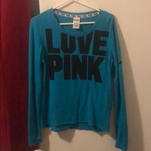 Victoria's Secret Pink Turquoise long sleeve shirt